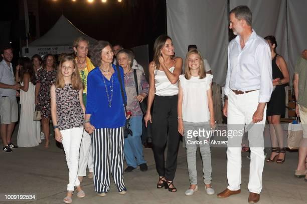 Princess Leonor of Spain Princess Elena Queen Sofia Princess Irene of Greece Queen Letizia of Spain Princess Sofia of Spain and King Felipe VI of...