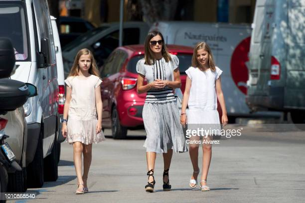 Princess Leonor of Spain Princess Sofia of Spain and Queen Letizia of Spain visit the Royal Nautic Club the last day of the 37th Copa del Rey Mapfre...