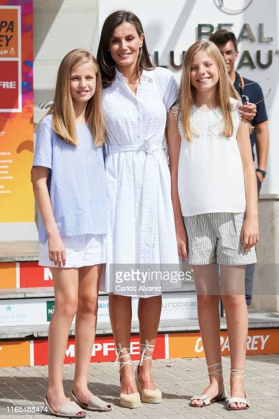 Princess Leonor of Spain, Queen Letizia of Spain and Princess Sofia of Spain attend the 38th Copa del Rey Mapfre Sailing Cup on August 01, 2019 in...