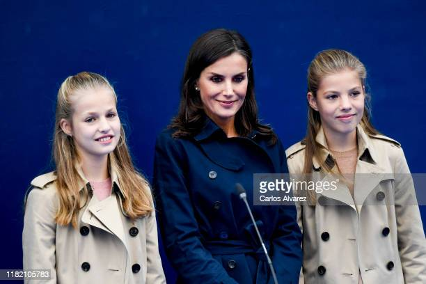 Princess Leonor of Spain , Queen Letizia of Spain and Princess Sofia of Spain visit Asiegu, which has been honoured as the 2019 Best Asturian...