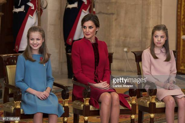Princess Leonor of Spain Queen Letizia of Spain and Princess Sofia of Spain attend the Order of Golden Fleece ceremony at the Royal Palace on January...