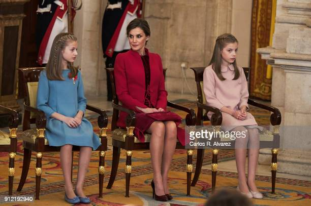 Princess Leonor of Spain Queen Letizia of Spain and Princess Sofia attend the Order of Golden Fleece ceremony at the Royal Palace on January 30 2018...