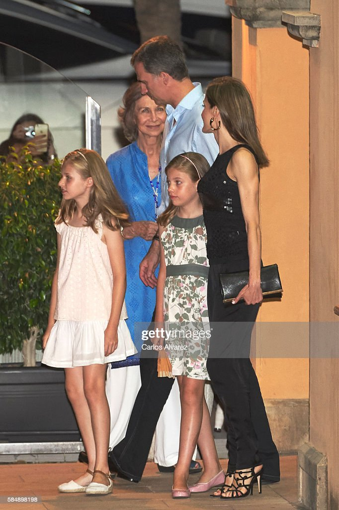 Princess Leonor of Spain, Queen Sofia, King Felipe VI of Spain, Princess Sofia of Spain and Queen Letizia of Spain are seen at the Flaningan Restaurante on July 31, 2016 in Portals Nous, near of Palma de Mallorca, Spain.