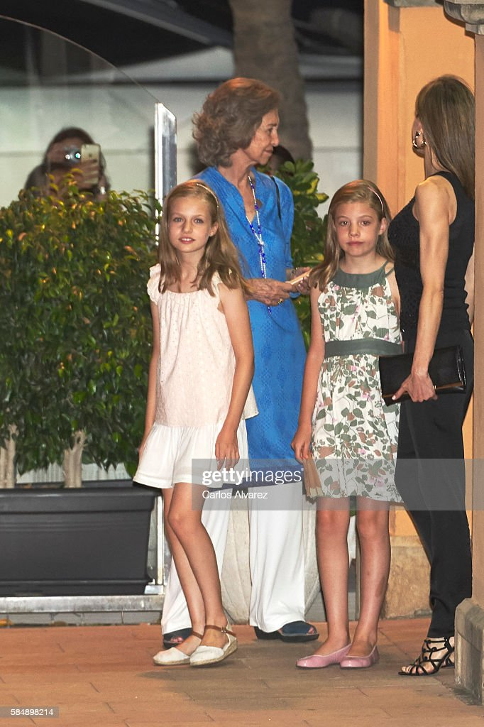 Princess Leonor of Spain, Queen Sofia, Princess Sofia of Spain and Queen Letizia of Spain are seen at the Flaningan Restaurante on July 31, 2016 in Portals Nous, near of Palma de Mallorca, Spain.