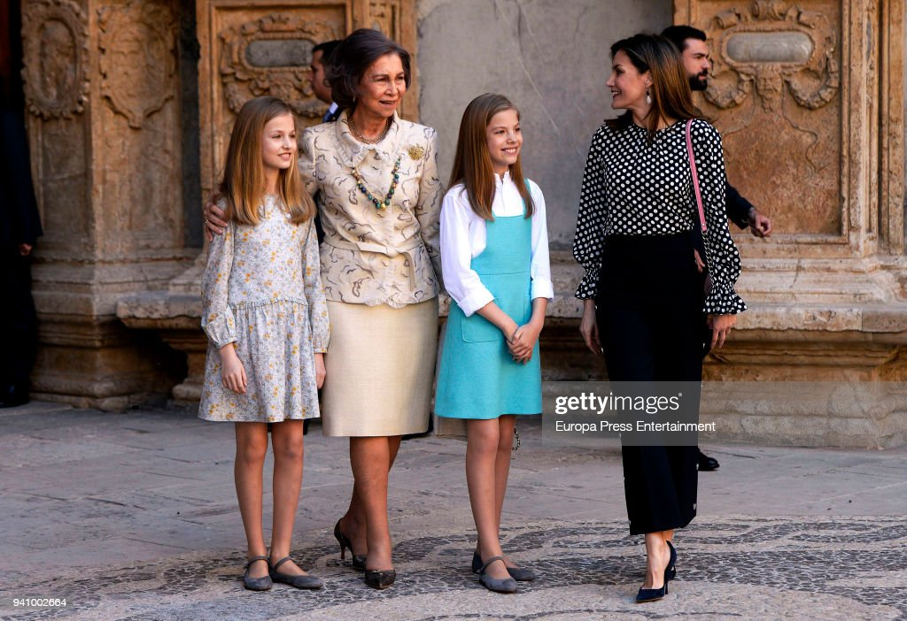 Spanish Royals Attend Easter Mass in  Palma de Mallorca : News Photo