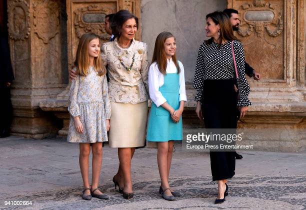 Princess Leonor of Spain Queen SofiaPrincess Sofia of Spain and Queen Letizia of Spain attend the Easter mass on April 1 2018 in Palma de Mallorca...