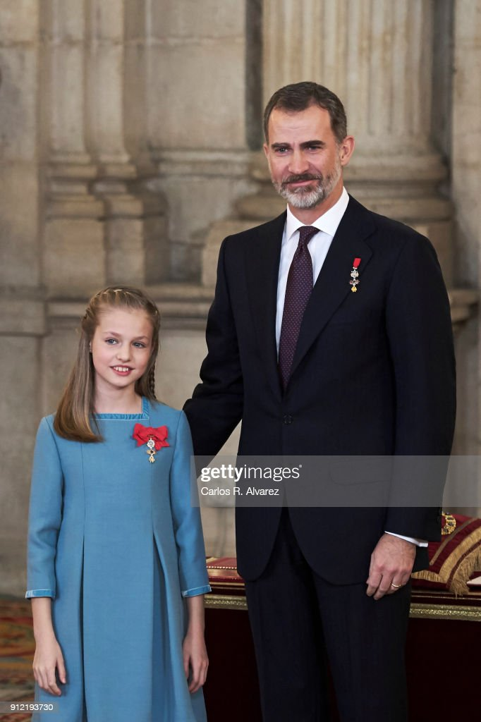 Princess Leonor of Spain receives one of Spain's highest honours, the Order of Golden Fleece (Toison de Oro), from King Felipe VI of Spain at the Royal Palace on January 30, 2018 in Madrid, Spain. Today is King's Felipe 50th birthday.