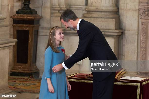 Princess Leonor of Spain receives one of Spain's highest honours the Order of Golden Fleece from King Felipe VI of Spain at the Royal Palace on...