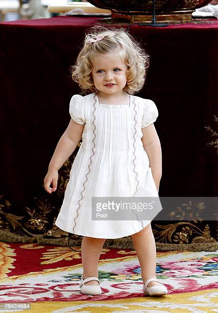 Princess Leonor of Spain smiles during the baptism of Princess Sofia on July 15, 2007 at Zarzuela Palace in Madrid, Spain.