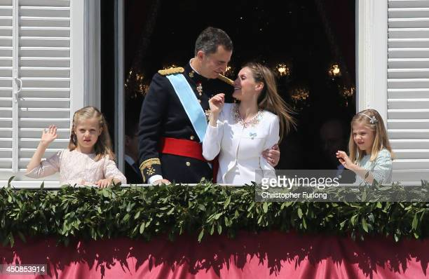 Princess Leonor Princess of Asturias King Felipe VI of Spain Queen Letizia of Spain and Princess Sofia appear at the balcony of the Royal Palace...
