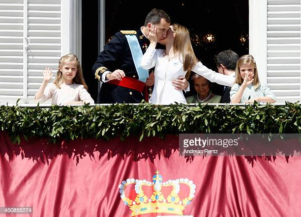 Princess Leonor Princess of Asturias King Felipe VI of Spain Queen Letizia of Spain and Princess Sofia appear at the balcony of the Royal Palace...