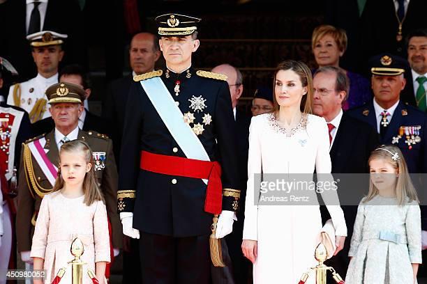 Princess Leonor Princess of Asturias King Felipe VI of Spain Queen Letizia of Spain and Princess Sofia review walk past a guard of Honor at the...