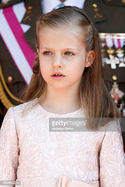 Princess Leonor Princess of Asturias reviews walk past a guard of Honor at the Congress of Deputies during the King's official coronation ceremony on...
