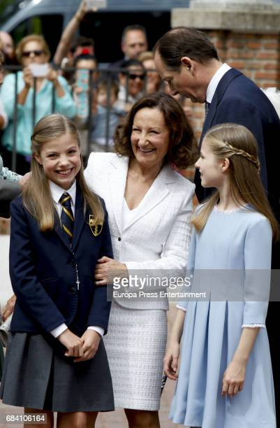 Princess Leonor Princess Sofia and Queen Letizia's mother Paloma Rocasolano attend the First Communion of Princess Sofia at the Asuncion de Nuestra...
