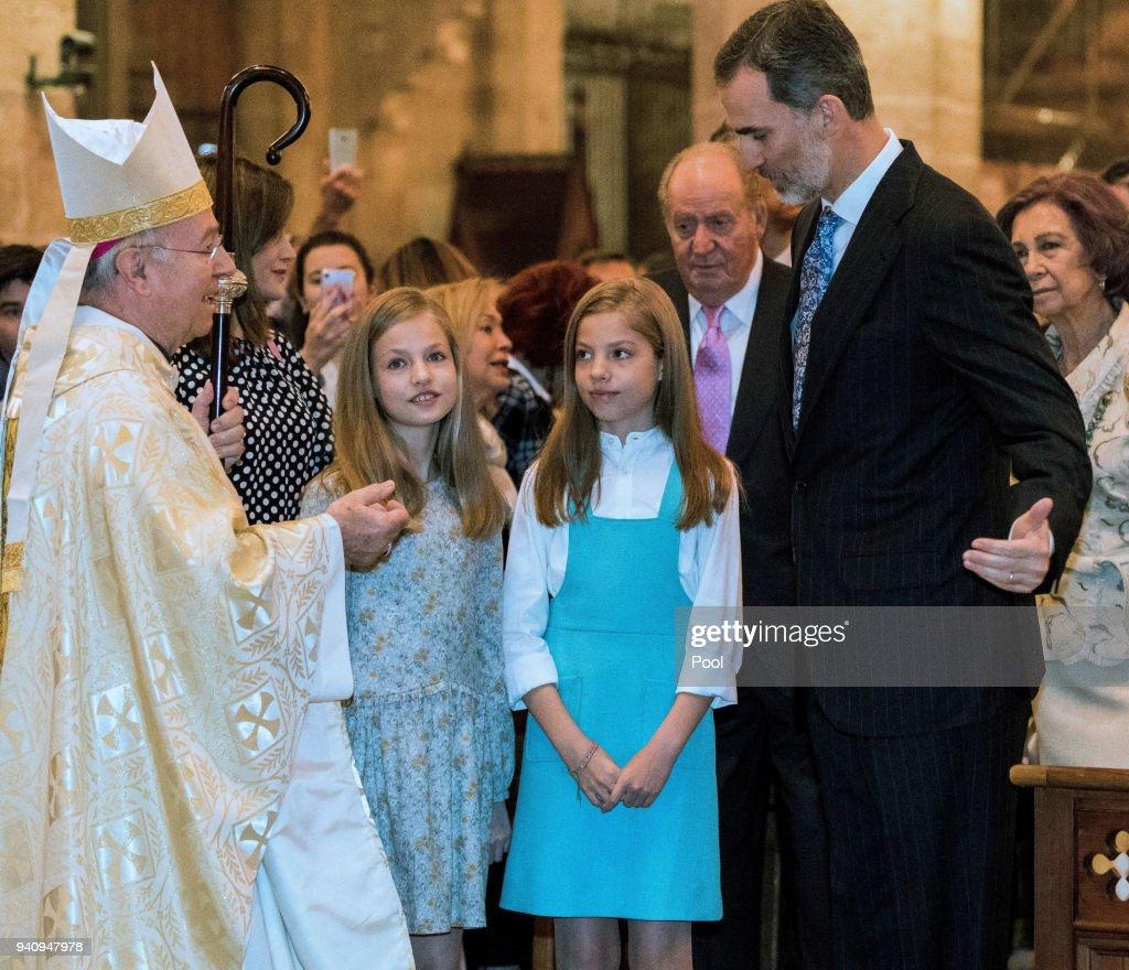 Princess Leonor, Princess Sofia of Spain and King Felipe of Spain attend the Easter mass on April 1, 2018 in Palma de Mallorca, Spain.