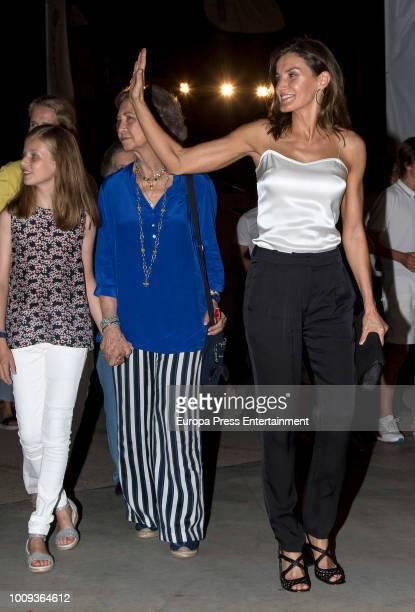 Princess Leonor Queen Sofia and Queen Letizia of Spain attend Ara Malikian's concert at Port Adriano on August 1 2018 in Palma de Mallorca Spain