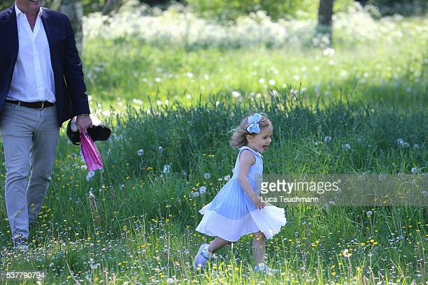 Princess Leonore of Sweden and her father Christopher O'Neill are seen visiting the stables on June 3 2016 in Gotland Sweden Duchess Leonore will...