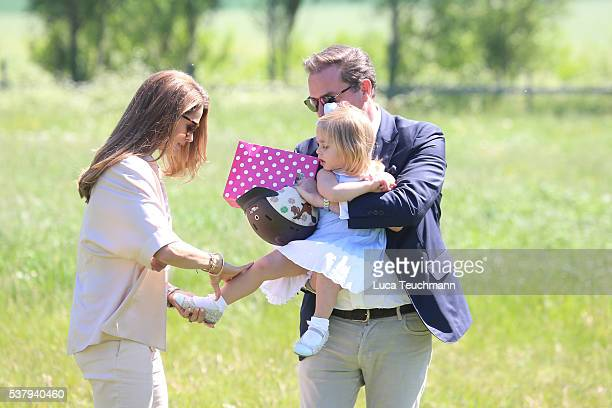 Princess Leonore of Sweden and her mother Princess Madeleine of Sweden and Christopher O'Neil are seen visiting the stables on June 3 2016 in Gotland...