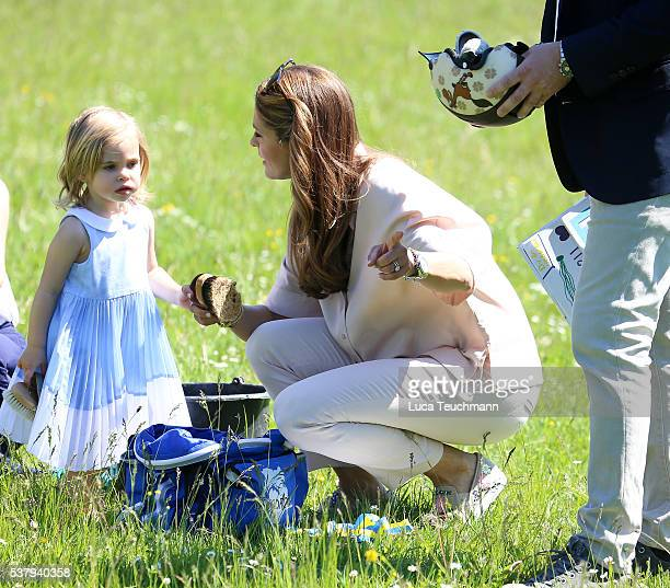 Princess Leonore of Sweden and her mother Princess Madeleine of Sweden are seen visiting the stables on June 3 2016 in Gotland Sweden Duchess Leonore...