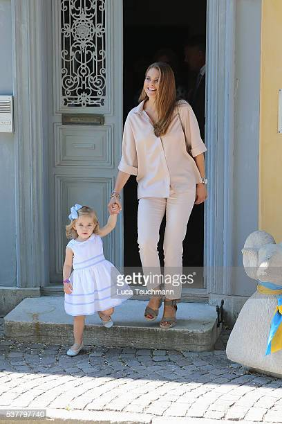 Princess Leonore of Sweden and mother Princess Madeleine of Sweden are seen visiting Gotland Museum on June 3 2016 in Gotland Sweden Duchess Leonore...