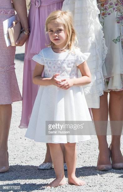 Princess Leonore of Sweden attends the christening of Princess Adrienne of Sweden at Drottningholm Palace Chapel on June 8 2018 in Stockholm Sweden
