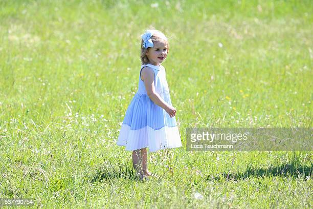 Princess Leonore of Sweden is seen visiting the stables on June 3 2016 in Gotland Sweden Duchess Leonore will meet her horse Haidi of Gotland for the...
