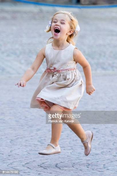 Princess Leonore of Sweden plays at the inner courtyard of the Royal Palace after the thanksgiving service on the occasion of The Crown Princess...