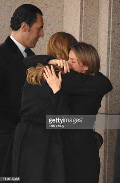 Princess Letizia and Cristina of Spain during Erika Ortiz Funeral February 8 2007 at Tres Cantos Cemetry in Madrid Spain