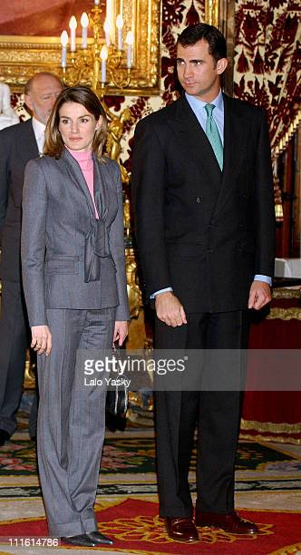 Princess Letizia and Crown Prince Felipe during Spanish Royals Host a Lunch for Senegalese President Abdoulaye Wade at Royal Palace in Madrid Spain