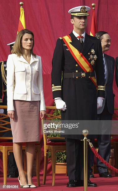 Princess Letizia and Crown Prince Felipe of Spain attend the presentation of the Combat Flag to the Juan de Borbon Military Navy in Barcelona Harbour...