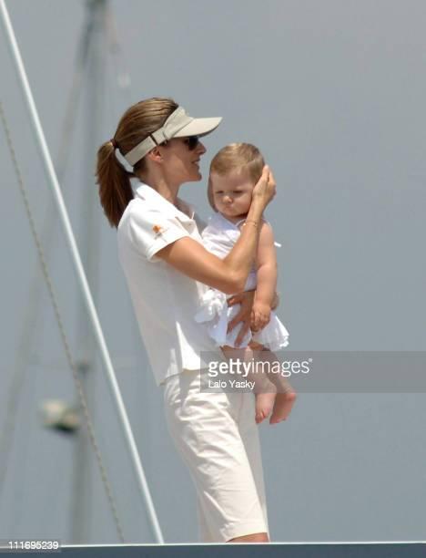 Princess Letizia and daughter Leonor during Spanish Royals Sighting in Palma de Mallorca at Yacht Fortuna in Palma de Mallorca Spain