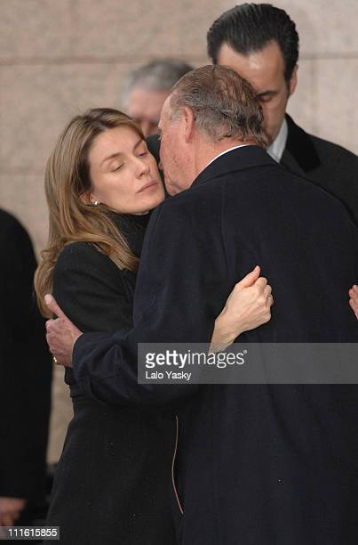 Princess Letizia and King Juan Carlos during Erika Ortiz Funeral February 8 2007 at Tres Cantos Cemetry in Madrid Spain