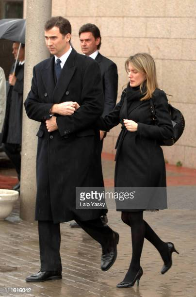 Princess Letizia and Prince Felipe during Erika Ortiz Funeral February 8 2007 at Tres Cantos Cemetry in Madrid Spain