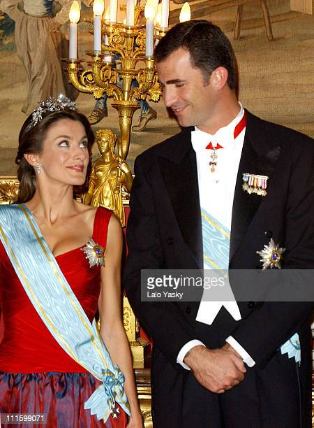 Princess Letizia and Prince Felipe during Royal Gala Dinner in Honor of the President of Latvia at The Royal Palace in Madrid Spain