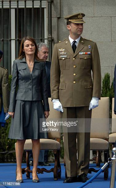 Princess Letizia and Prince Felipe during Spanish Royals Preside an Hommage to Spanish Soldiers Who Have Died in Peace Missions May 29 2006 at Air...