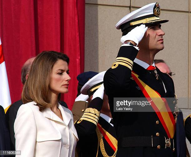 Princess Letizia and Prince Felipe during The Spanish Royal Family at the Frigate 'Juan de Borbon' Flag Ceremony at Harbour of Barcelona in Barcelona...