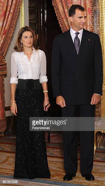 Princess Letizia and Prince Felipe of Spain attend a dinner in honour of Costa Ricas President Oscar Arias Sanchez at The Royal Palace on September...