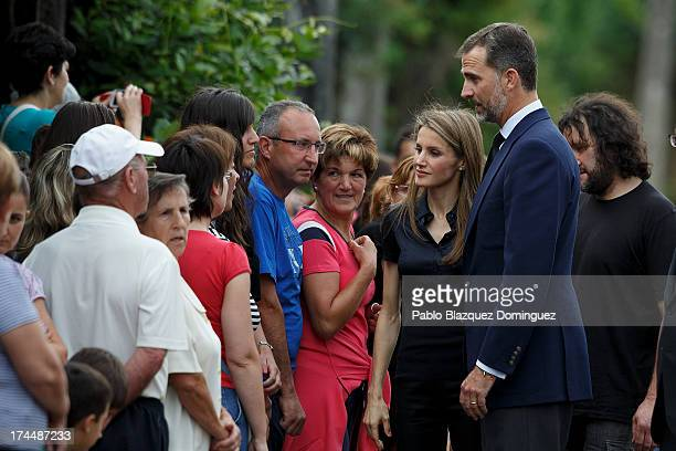 Princess Letizia and Prince Felipe of Spain visit Angrois residents on July 26 2013 in Santiago de Compostela Spain The high speed train crashed...