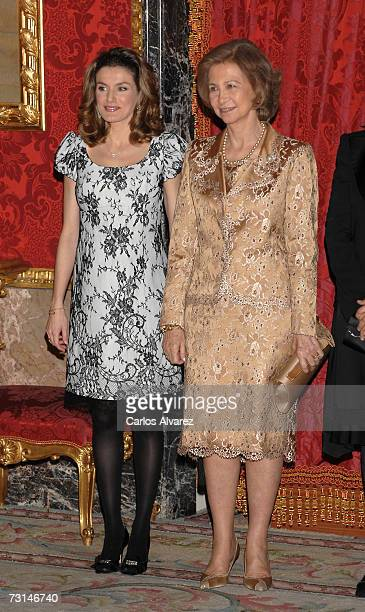 Princess Letizia and Queen Sofia of Spain receive Mexican President Felipe Calderon on January 29 2007 at Royal Palace in Madrid Spain