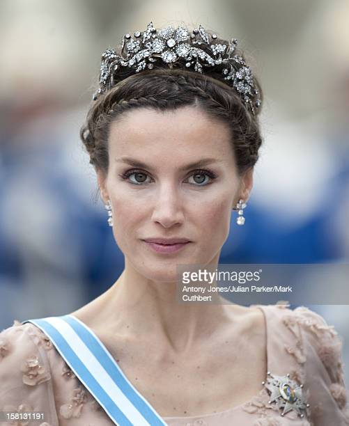Princess Letizia At The Wedding Of Crown Princess Victoria Of Sweden And Daniel Westling At Stockholm Cathedral.