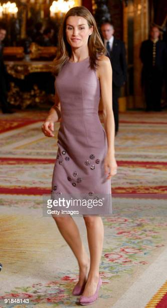 Princess Letizia attend a Spain´s National Day Reception at the Royal Palace on October 12 2009 in Madrid Spain