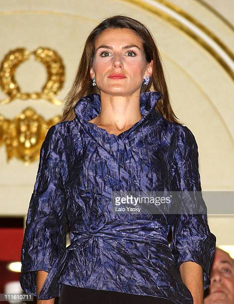 Princess Letizia Attend and Crown Prince Felipe during Crown Prince Felipe and Princess Letizia Attend Commemoration Concert by the Symphonic...