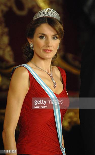 HRH Princess Letizia attends the Royal Gala Dinner in honour of Slovakian President Ivan Gasparovic and his wife Silvia at the Royal Palace on...