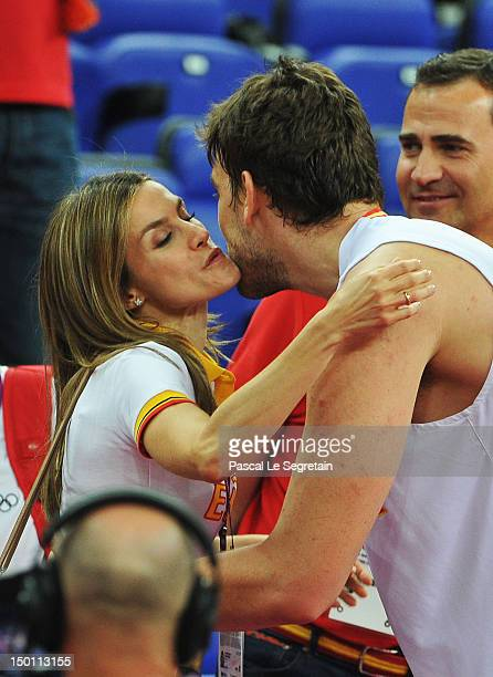 Princess Letizia congratulates Marc Gasol after the Men's Basketball semifinal match between Spain and Russia on Day 14 of the London 2012 Olympic...
