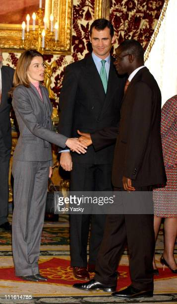 Princess Letizia Crown Prince Felipe and Senegalese President Abdoulaye Wade