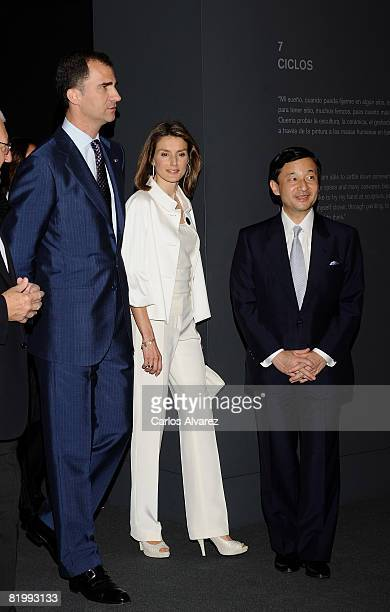 Princess Letizia Crown Prince Naruhito of Japan and Prince Felipe of Spain visit the Joan Miro exhibition on July 18 2008 at the ThyssenBornemisza...