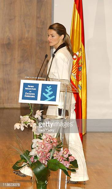 Princess Letizia during Crown Prince Felipe and Princess Letizia at Prince Felipe Business Awards Ceremony at Auditorio Nacional in Madrid Spain