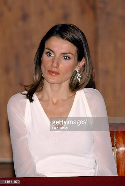 Princess Letizia during Crown Prince Felipe and Princess Letizia Preside the 2004 BMW Painting Award Ceremony at Auditorio Nacional in Madrid Spain