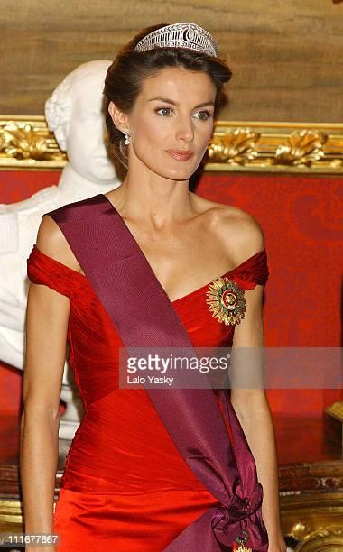 Princess Letizia during Gala Dinner at Spain's Royal Palace at Zarzuela Palace in Madrid Spain Spain