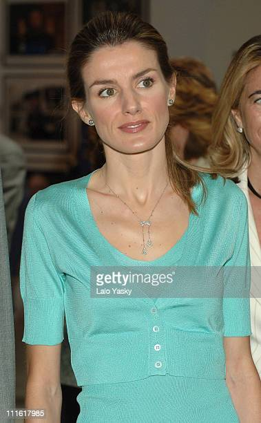 Princess Letizia during Prince Felipe and Princess Letizia at Photo Exhibition '25 Years of the Prince of Asturias Awards' May 25 2006 at Parque del...